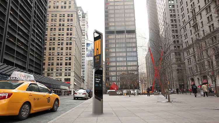 <p>The steel and concrete column is made up of four screens, two for dedicated  advertising and two providing things like maps, search information, community messages, and local ads.</p>
