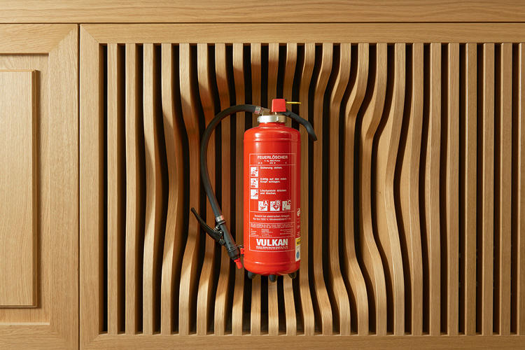 <p>A nice touch, placing the fire extinguisher in the recessed wood paneling.</p>