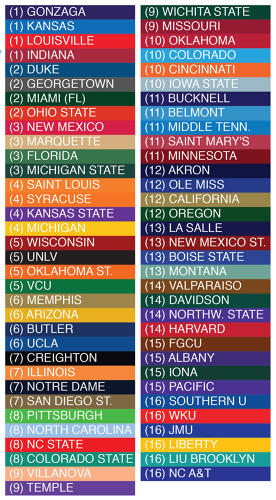 <p>There's a color for each of the tourney's 64 teams--though only 51 are on the map. Some teams weren't any county's overwhelming favorite.</p>