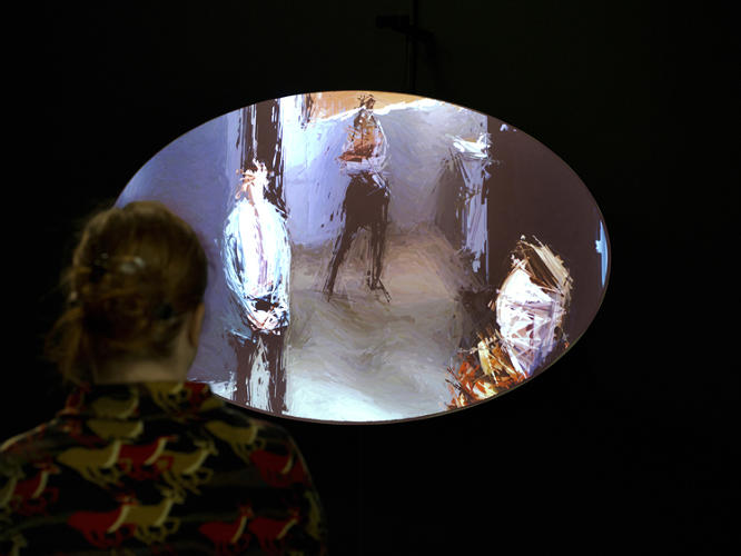 <p><em>Mirror No. 12</em>, another piece in the show, produces a similar effect by manipulating live video from the gallery .</p>