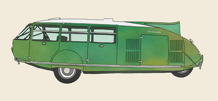 <p>Like the Dymaxion car, a streamlined, three-wheeled buggy with room for 11.</p>
