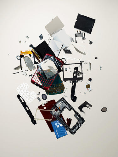 <p>Todd McLellan methodically takes pieces of technology apart, then photographs the results. Here, a BlackBerry's 120 parts were dropped from an elevated platform and captured using strobe-lighting technology.</p>