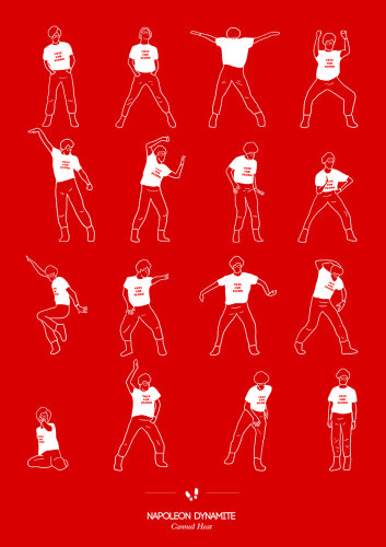 <p>Brazilian graphic artist Niege Borges has produced 20 posters for her &quot;Dancing Plague&quot; series, which reproduce, in minimalist form, the most famous dance scenes in movie and TV history. Above: &quot;Canned Heat&quot; from <em>Napoleon Dynamite</em>.</p>