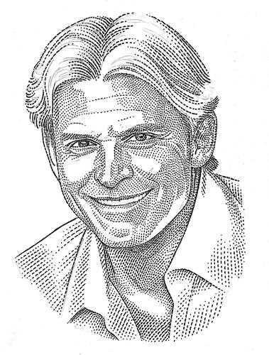 "<p>""What constitutes a good quality portrait in this style is the structure of the dot field,"" Sprouls says. ""To produce that tonal effect, I align the marks into a grid matrix.""</p>"