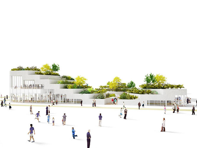 <p>The roof consists of terraced gardens suspended precariously above the pavilion's thin glass walls.</p>