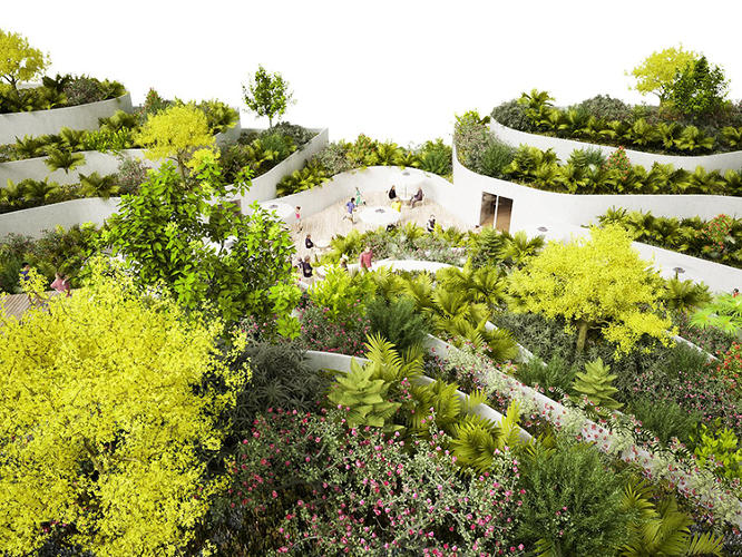 <p>A view of the lush roofscape, which the architects hope will offer a visual respite to the residents in neighboring housing slabs.</p>
