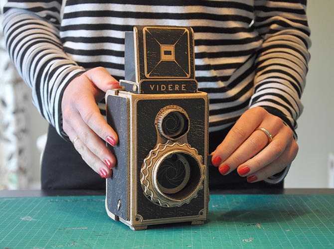 <p>Kelly Angood's pinhole camera is decorated with a twin-lens reflex camera body to look like a TLR.</p>
