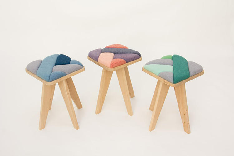 <p>A sawmill cut the wood that provided the structure for each piece, a color mill ground the pigment used to dye the yarn, and Karhof's own knitting machine transformed those colored fibers into mini pillows to upholster the stools, benches, and seats.</p>