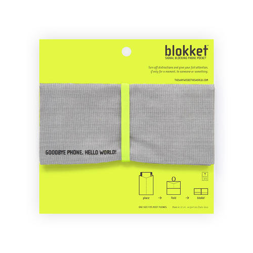<p>Blokket, designed by Chelsea Briganti and The Way We See The World, is a small, phone sized pouch that blocks cell signals. Drop your device in and enjoy some uninterrupted moments on your own or with a pal.</p>