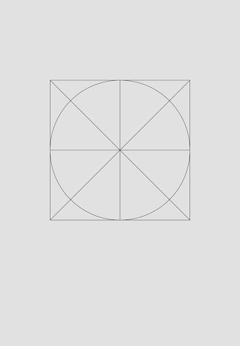 <p>All of the 22 posters Krasnopolski designed correspond to a 2 X 2 grid consisting solely of a circle and two crossing diagonals, all inscribed within a square.</p>