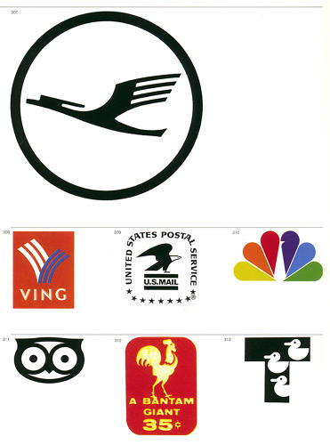 <p>From top, left to right: Lufthansa, Ving, United States Postal Service (by Raymond Loewy), NBC, Booksellers, Denmark, Bantam, Tipton Lakes Corporation (by Paul Rand)</p>