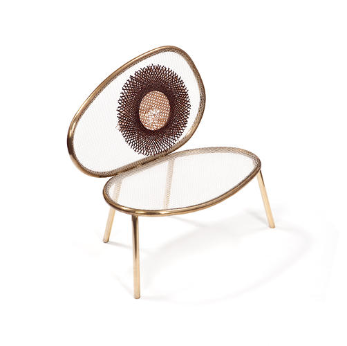 <p>The hand-crafted <em>Thonet</em> chairs were built from bent brass, and include hand-stitched detailing.</p>