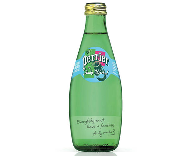 <p>Fun fact: Andy Warhol created a series of screenprints for the Perrier sparkling bottle company in 1983.</p>