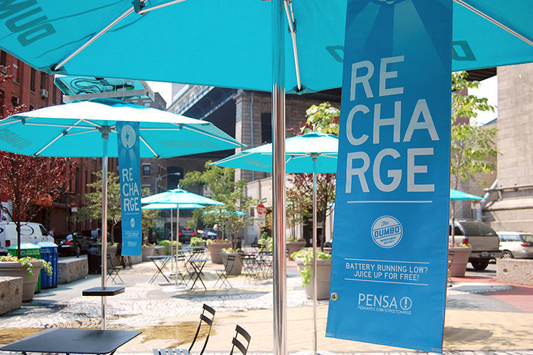 <p>Pensa got a lot of interest, so they began testing the idea--just using umbrellas to hold solar panels that could charge pedestrians' gadgets as a field test.</p>