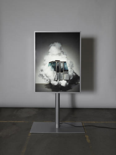 <p>Abrar's piece is the only 2D one among the series. He photographed the gondola in its original state, but set among a burst of cloud.</p>