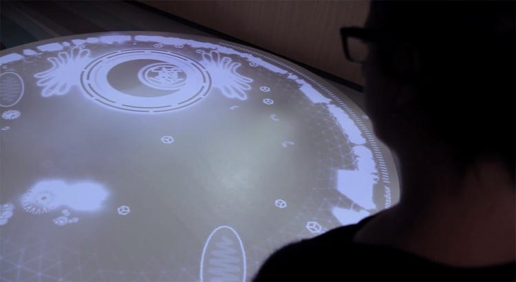 <p>The installation runs through a kinect motion tracker and a projector.</p>