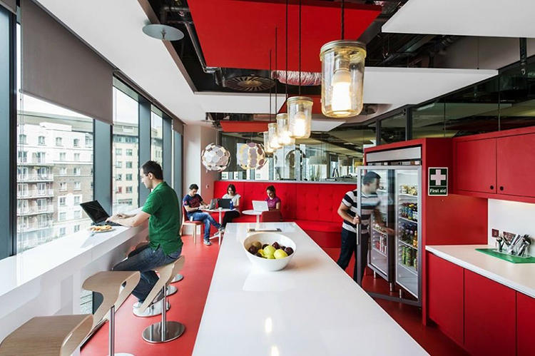 <p>All told, the campus offers employees the choice of five restaurants, on-site tech shops, 42 kitchenettes, a fitness center, a game room, and an 82-meter swimming pool.</p>