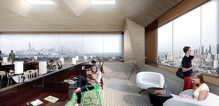 <p>The penthouse &quot;reading room&quot; is designed for more than just studying--and has great views of the Loop beyond.</p>