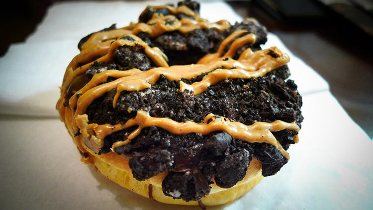 <p>Other dougnuts include the Old Dirty Bastard. It's a raised yeast doughnut with chocolate frosting, Oreos, and peanut butter.</p>