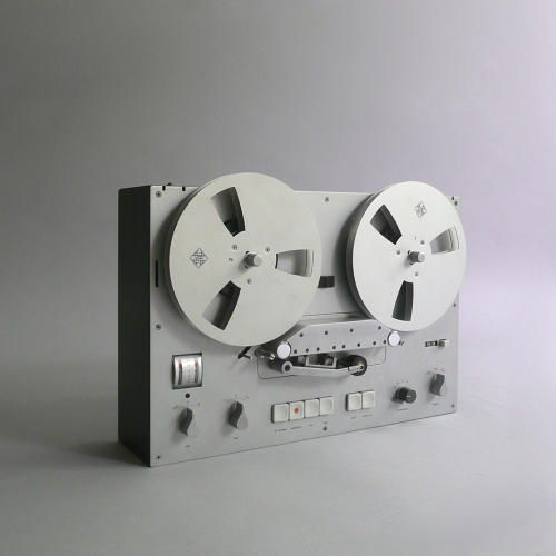<p>Braun TG 60 (Dieter Rams, 1965). A gorgeous metal reel-to-reel tape deck that ultimately inspired Apple's skeuomorphic podcasting UI on the iPhone.</p>