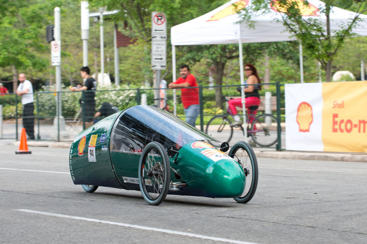 <p>The Cicero North-Syracuse High School team from Cicero, N.Y. achieved 169 mpg equivalent with the Clean Green Machine, a fuel cell-powered vehicle.</p>