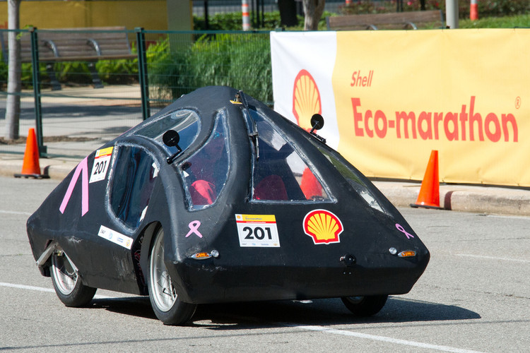 <p>Designed by The Grand Rapids High School team from Grand Rapids, Minn, the battery electric &quot;Cure&quot; vehicle (pink ribbons, get it?) achieved the equivalent of 187 mpg.</p>