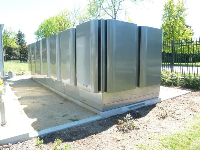 <p>This little power plant in a box runs on natural gas right now, but in the future NASA plans to have the fuel cell device run on biogas captured from a landfill. The device provides 20% of the building's energy.</p>