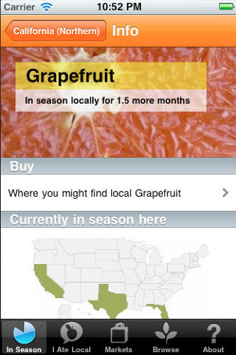 <p>The <a href=&quot;http://locavo.re/&quot; target=&quot;_blank&quot;>Locavore app</a> (iPhone and Android, free) tells you whether foods at your grocer or farmers market are in season. It does so with a geographic-based interface that lets you know that while you might want to steer clear of eggplant when shopping for your full-time home, you could definitely make a dish involving it next week when you're on vacation in another state. The app also lets you know how much longer a particular fruit or vegetable will remain in season, when something's about to be in season, and where near your place you could get it.</p>