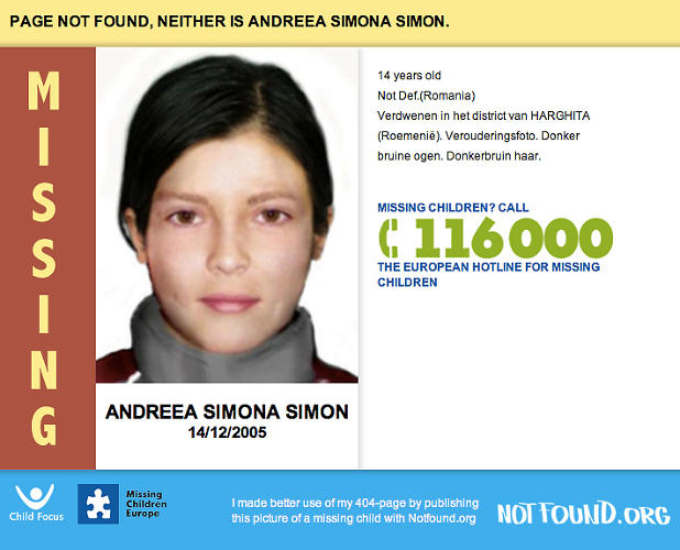 <p>The idea is to encourage individuals and businesses (or anyone with a website, really) to take advantage of the 404 error page and do something productive with it, by putting up information about missing children.</p>