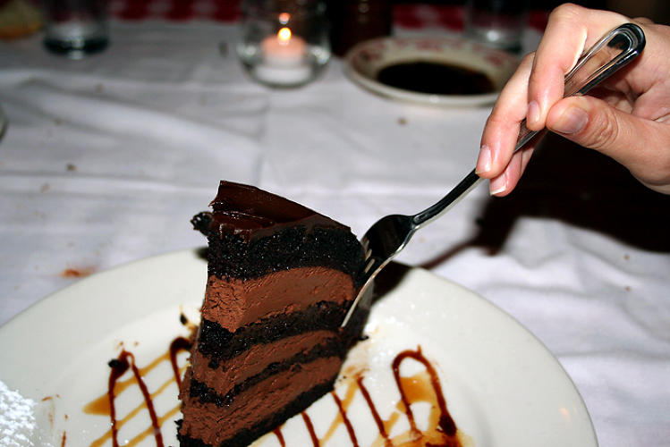 <p>Chocolate Zuccotto Cake<br /> Maggiano's Little Italy <br /> Calories: 1,820<br /> Saturated Fat: 62 grams<br /> Added sugar: 26 teaspoons</p>  <p>Photo by: <a href=&quot;http://www.flickr.com/photos/soyousay/1387938410/sizes/o/in/photostream/&quot; target=&quot;_blank&quot;>lookslikeamy</a></p>