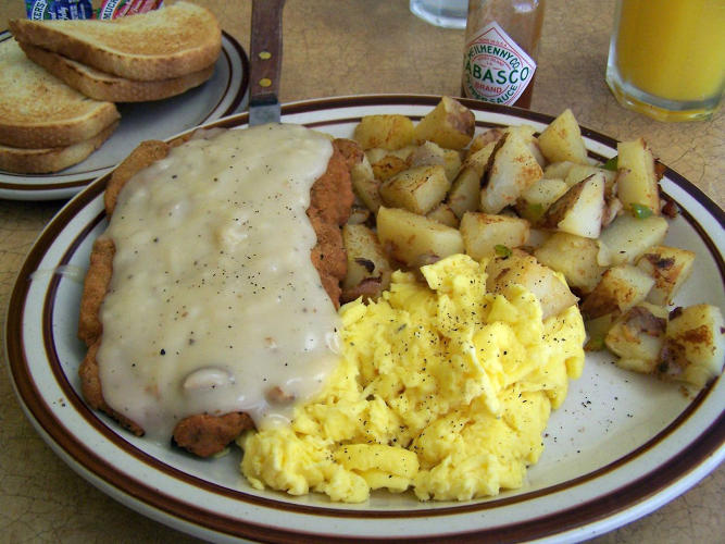 <p>Country Fried Steak &amp; Eggs Combo <br /> IHOP<br /> Calories: 1,760<br /> Saturated Fat: 23 grams<br /> Sodium: 3,720 mg<br /> Added sugar: 11 teaspoons</p>  <p>Photo by <a href=&quot;http://www.flickr.com/photos/tspauld/891886516/sizes/o/in/photostream/&quot; target=&quot;_blank&quot;>Tom Spaulding</a></p>