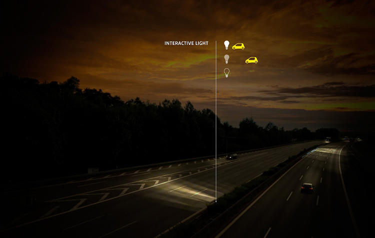 <p>The glowing road eliminates the need for roadside lighting.</p>