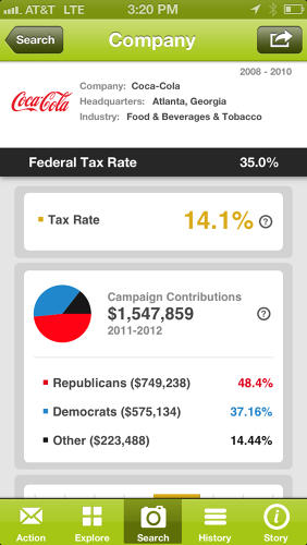 <p>You can see info like tax rate and campaign contributions.</p>