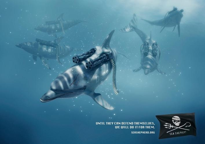 <p>These ads, from France, highlight Sea Shepherd's role in preventing ships from killing whales and dolphins.</p>