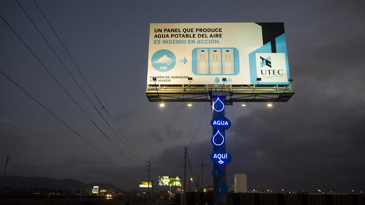 <p>The billboard contains five generators that churn out purified water through a reverse osmosis system.</p>