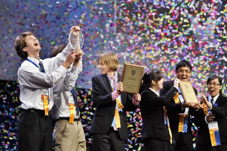 <p>Matthew Feddersen and Blake Marggraff were seniors in high school when they won the 2011 Intel Science and Engineering Fair for coming up with a way to slash costs so that cancer treatments cost as little as 60 cents a pop. Their innovation: a system that targets radiation towards tin particles placed close to cancer cells.</p>