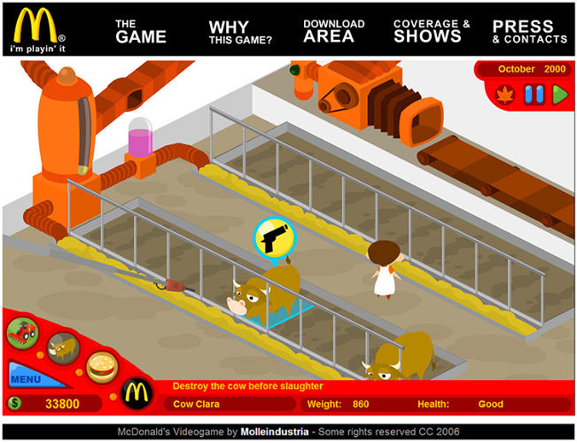 <p>This video game exposing McDonald's industrial food system.</p>