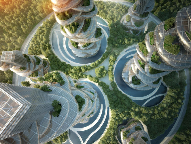 These farmscrapers are entire cities in crazy wobbly looking towers co exist ideas impact - The giant slide apartament ...