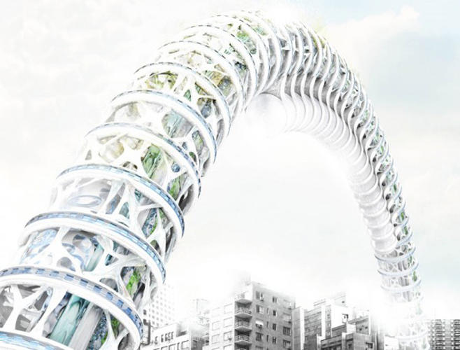 <p>The Urban Earth Worm skyscraper, created by Lee Seungsoo, is inspired by--you guessed it--the earthworm. The worm-like structure harbors tubes filled with soil, trees, and plants, while an energy station near the bottom of the worm processes the city's trash into energy.</p>