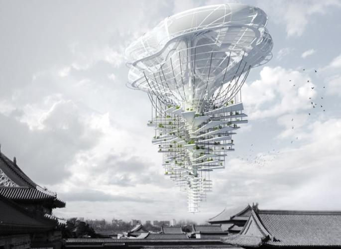 <p>The Light Park Floating Skyscraper, designed by Ting Xu and Yiming Chen, took third place in the competition. In order to preserve green space on the ground, this skyscraper hovers in the sky with help from a helium-filled balloon and solar-powered propellers. Solar panels and water collectors cover the structure.</p>