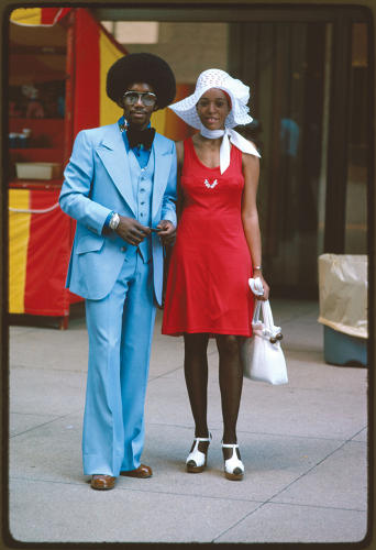 <p>&quot;Michigan Avenue, Chicago&quot; (couple on street)</p>  <p>Perry Riddle, Chicago, IL, July 1975. National Archives, Records of the Environmental Protection Agency</p>