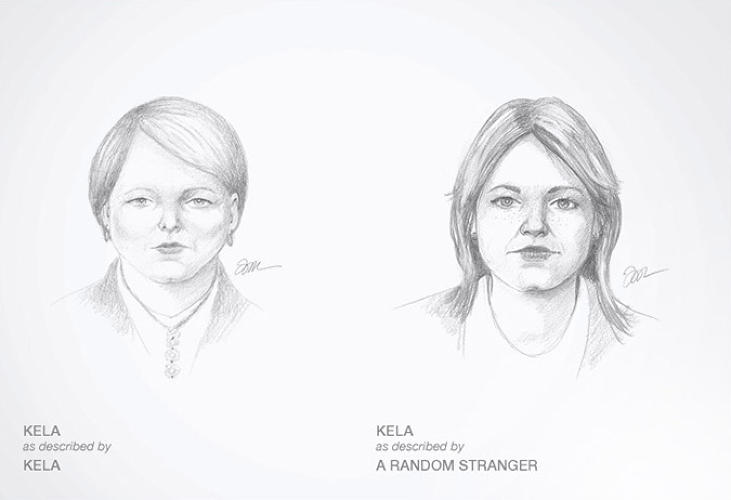<p>On the right is how a stranger thinks they look.</p>