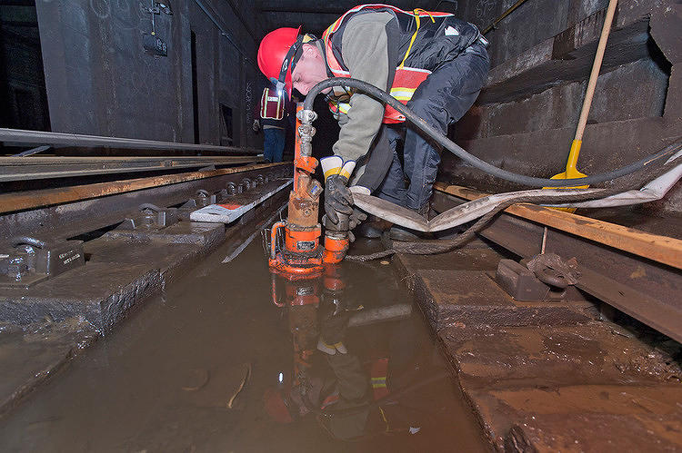 <p>The MTA <a href=&quot;http://www.fastcoexist.com/1680851/a-look-inside-the-heroic-cleanup-effort-in-new-yorks-subways&quot; target=&quot;_self&quot;>undertook a massive project to drain the subways and get them back online</a>.</p>