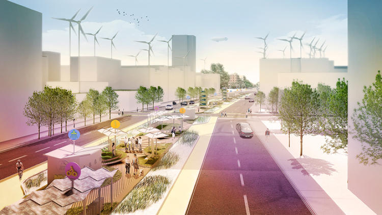 <p>The New York team proposed that a net-zero park be created within a three-block-long stretch of central median running down Allen Street on Manhattan's Lower East Side. Each block of that (prototype) linear park would be designed to test--via its amenities--a particular resilience strategy: waste disposal and biomass generation; solar/renewable energy; or storm water retention.</p>
