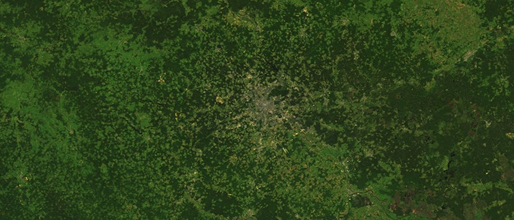 <p>&quot;Moscow is one of the only major cities to grow out before before cars were popular, and it has kept many of its urban parks as it continues to expand. This relatively unusual urban planning makes it distinctive from space: it has a radial, spiderweb-like shape, and fades gradually into the surrounding fields and forests.&quot;</p>