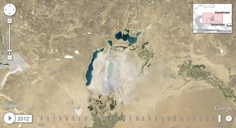 <p>And, mostly gone, in 2012. <a href=&quot;http://earthengine.google.org/#intro/AralSea&quot; target=&quot;_blank&quot;>See the whole time-lapse here.</a></p>