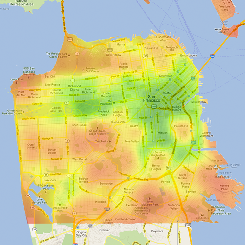 <p>2: San Francisco (Bike Score: 70)</p>  <p>Bike Score uses four criteria, weighted equally: the availability of infrastructure like bike lanes, hilliness, route options, and the level of commuting.</p>