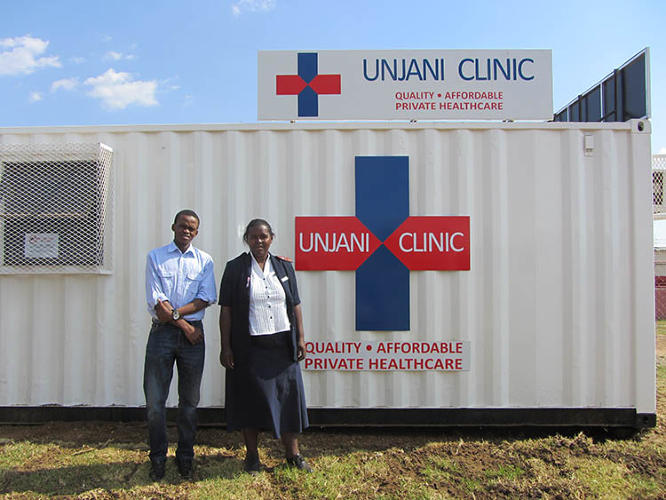 <p>The Unjani Clinic in a Box takes about four weeks to set up, and is staffed by local community health workers.</p>