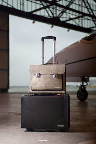 <p>The bags include a briefcase, shopper bag, trolley bag for travel, and accessories like belts and iPad sleeves.</p>
