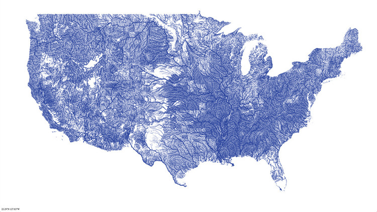 <p>Nelson Minar has mapped all the rivers in the contiguous United States.</p>